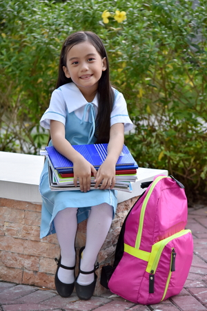 Cute Girl Student Smiling Wearing Uniform
