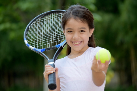 Sporty Diverse Female Tennis Player And Happiness Banco de Imagens - 119661689