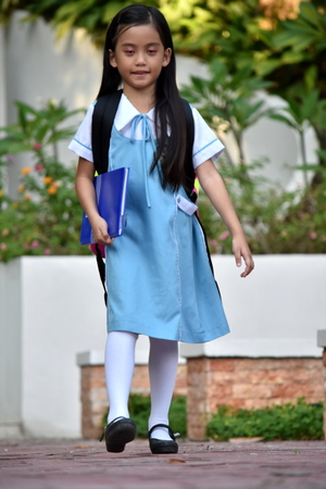 Standing Prep Asian Girl Student With Notebooks 版權商用圖片