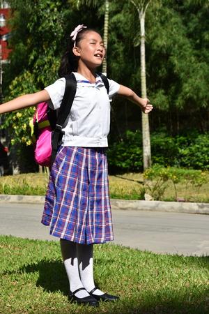School Girl And Freedom Wearing School Uniform