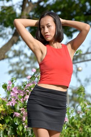 A Female Wearing Skirt Stock Photo