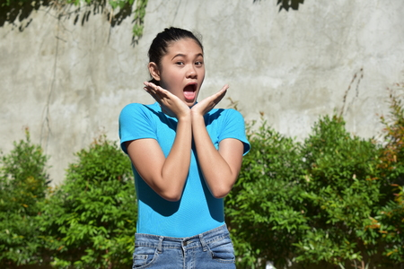 A Surprised Filipina Person