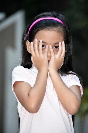 Ashamed Beautiful Filipina Girl Youth Stock Photo