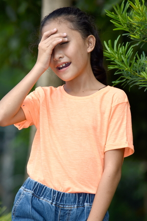 Cute Asian Girl And Shyness