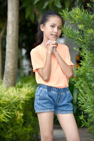 Praying Asian Girl Teenager Stock Photo