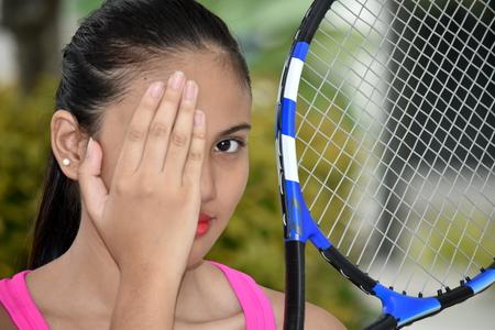 Female Tennis Player And Failure Stok Fotoğraf - 122372718