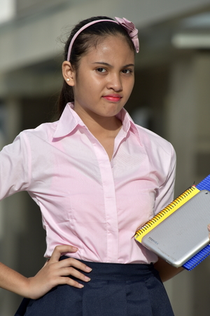 Unhappy Student Teenager School Girl With Notebooks