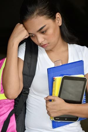 Sad Cute Minority Girl Student 版權商用圖片