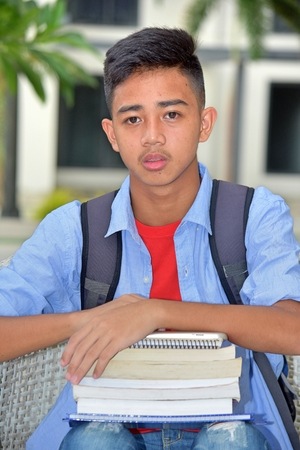 Serious Young Student With Notebooks