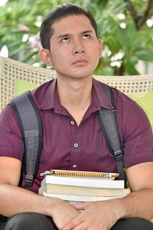 Wondering Asian Boy Student 版權商用圖片