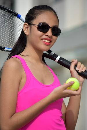 A With Tennis Racket Banco de Imagens
