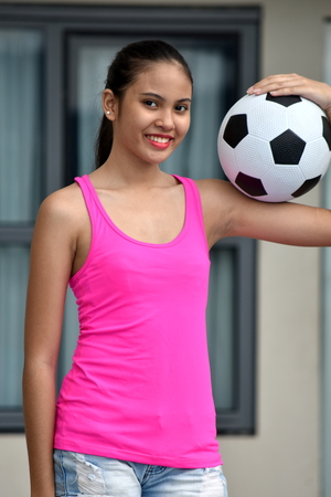 Sporty Diverse Female Soccer Player Smiling