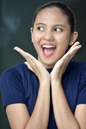 Surprised Beautiful Asian Teenage Female