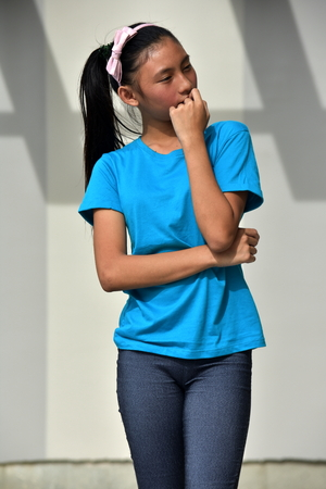 Youthful Minority Teen Girl Thinking