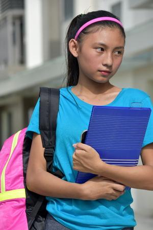 Serious Beautiful Female Student