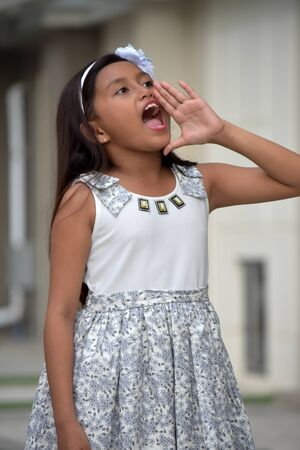Shouting Cute Asian Girl Child Wearing Dress