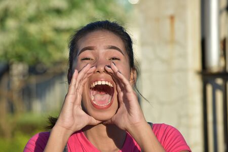 A Minority Woman Yelling Stok Fotoğraf