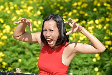 Intimidating Filipina Female Woman Stock Photo