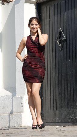 Slim Attractive Diverse Female Wearing Dress Standing