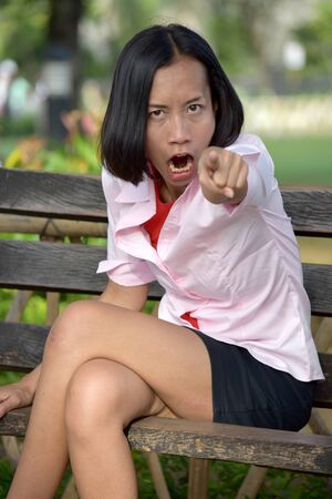 Asian Woman And Anger Stock Photo - 128328804