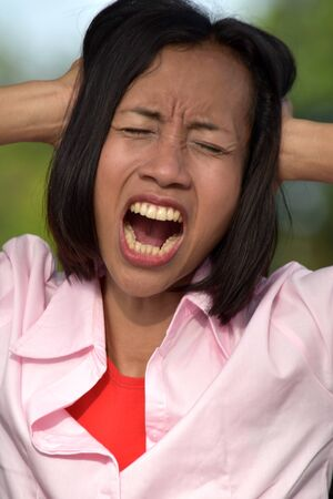 A Stressful Adult Female Stock Photo - 128328731