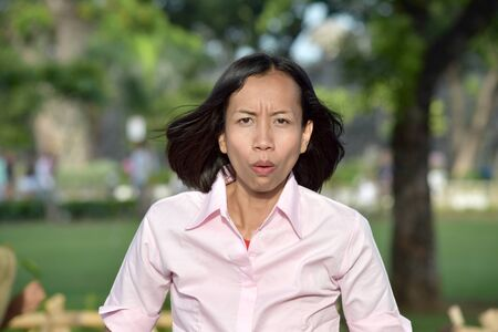 A Confused Diverse Female Stockfoto