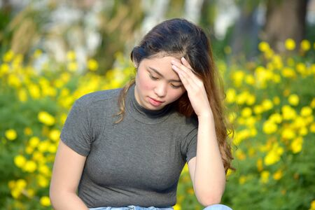 A Female And Worry Stok Fotoğraf