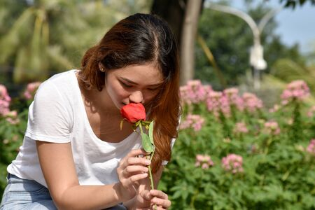 Unhappy Youthful Asian Female With A Flower