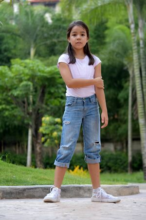Young Filipina Female Waiting Standing