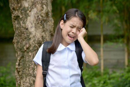 Tearful Prep Diverse Person Wearing School Uniform