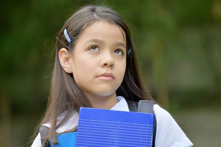Young School Girl Wondering With Notebooks Banco de Imagens