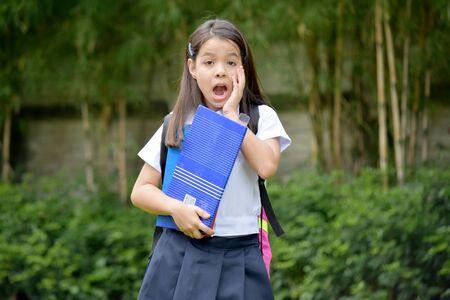 Shocked Pretty Diverse Student Child Stock Photo