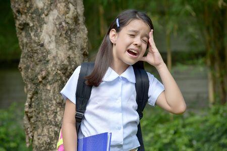 Crying Female Student School Girl Wearing Uniform