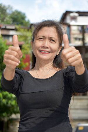 A Gramma With Thumbs Up 写真素材