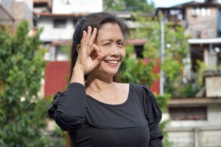 An Ok Female Senior Woman Foto de archivo - 129894644