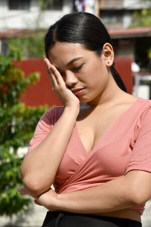 Attractive Filipina Adult Female And Sadness