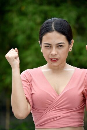 An Angry Asian Female Stockfoto