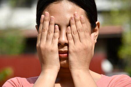 A Disappointed Beautiful Filipina Female Woman