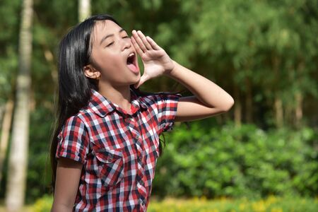 An Asian Female Shouting