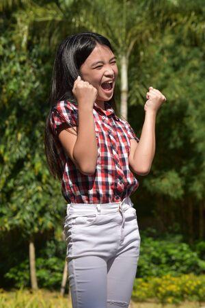 A Proud Petite Filipina Person 스톡 콘텐츠