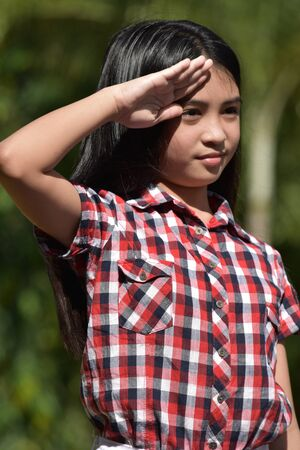 A Saluting Young Female