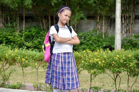 Stubborn Asian Person Wearing School Uniform