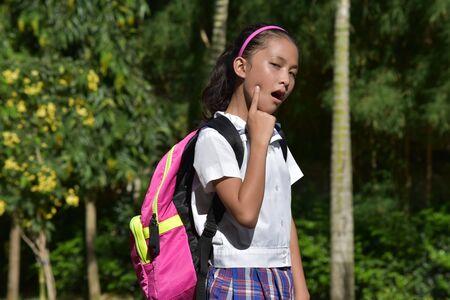 Catholic Minority Girl Student With Toothache Wearing Uniform 写真素材
