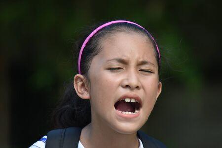 Shouting Minority School Girl Student Teenager With Books