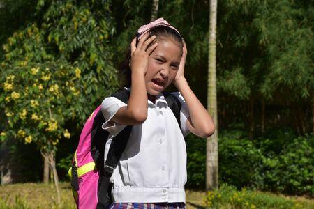 Prep Diverse Girl Student Under Stress Wearing School Uniform