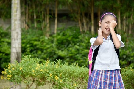 Young Minority Girl Student Under Stress Wearing School Uniform
