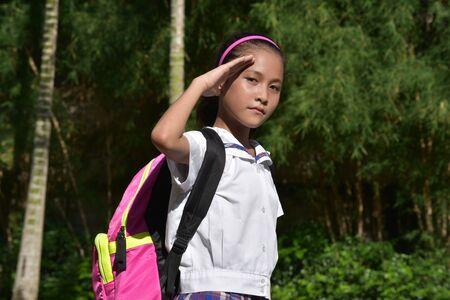 Catholic Asian Girl Student Saluting Wearing Uniform
