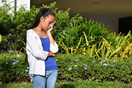 A Depressed Youthful Diverse Youngster 写真素材 - 129904847