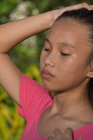 A Teenager Girl Under Stress 写真素材 - 129905199