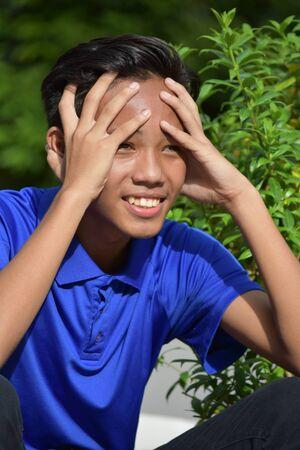 A Filipino Teenager Boy And Anxiety Stock Photo